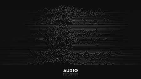 Vektor 3d Echo Audio Welle aus dem Spektrum. Schwingungsgraph für abstrakte Musikwellen. Futuristische Schallwellenvisualisierung. Schwarz-weiß gepunktetes Impulsmuster. Beispiel für synthetische Musiktechnologie.