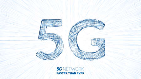 Vector abstract 5G new wireless internet connection background. Global network high speed network. 5G symbol with a lightspeed burst on background.