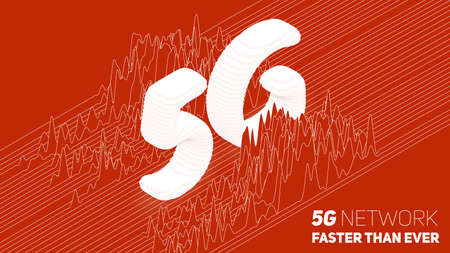 Vector abstract 5G new wireless internet connection background. Global network high speed network. Sliced 3d 5G symbol on a red background with wave pattern. Signal spectrum.