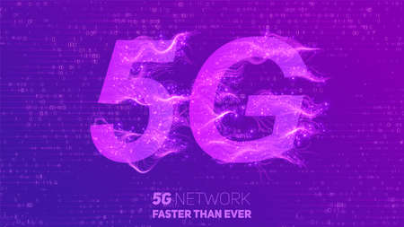 Vector abstract 5G new wireless internet connection background. Global network high speed network. Abstract 5G symbol with shiny curly lines and tiny glowing dots trails on a white background.