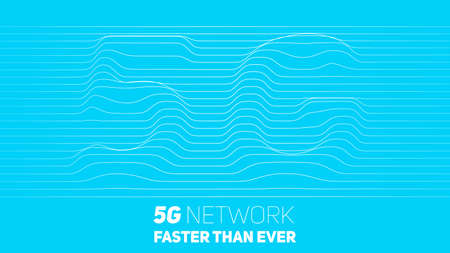 Vector abstract 5G new wireless internet connection background. Global network high speed network. Abstract 5G symbol with volumetric embossed curly lines on a blue background Illustration