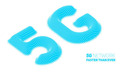 Vector abstract 5G new wireless internet connection background. Global network high speed network. Abstract blue 5G symbol with volumetric embossed curly lines on a white background
