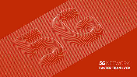 Vector abstract 5G new wireless internet connection background. Global network high speed network. Abstract 5G symbol with volumetric embossed curly lines on a red background