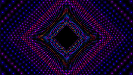 Vector infinite rhombic or square colorful tunnel of shining flares . Glowing points form tunnel sectors. Abstract cyber colorful background. Geometric infinite wallpaper. Retro disco backdrop. Illustration