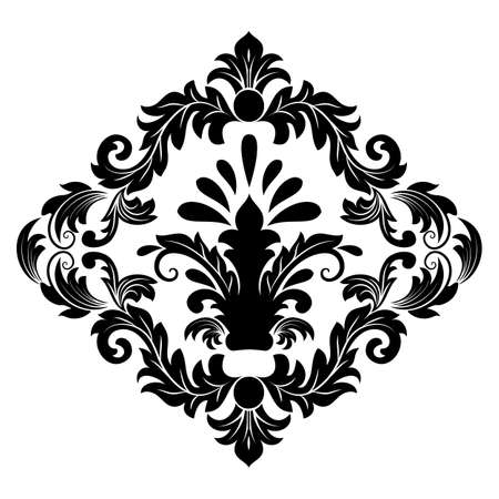 Vector damask element. Isolated damask central illistration. Classical luxury old fashioned damask ornament, royal victorian seamless texture for wallpapers, textile, wrapping