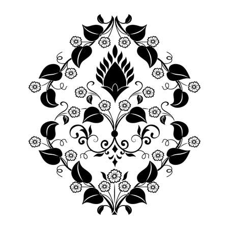 Vector damask element. Isolated damask central illistration. Classical luxury old fashioned damask ornament, royal victorian texture for wallpapers, textile, wrapping Illustration
