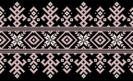 illustration of Ukrainian folk seamless pattern ornament. Ethnic ornament. Border element. Traditional Ukrainian, Belarusian folk art knitted embroidery pattern - Vyshyvanka