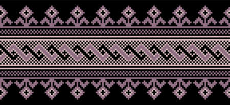 illustration of Ukrainian folk seamless pattern ornament. Ethnic ornament. Border element. Traditional Ukrainian, Belarusian folk art knitted embroidery pattern - Vyshyvanka