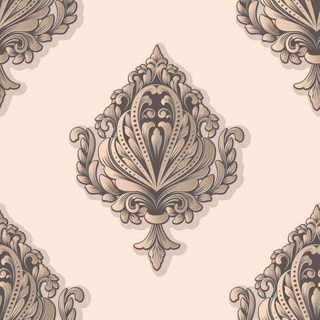 Damask seamless pattern element. Classical luxury old fashioned damask ornament, royal victorian seamless texture for wallpapers, textile, wrapping. Exquisite floral baroque template