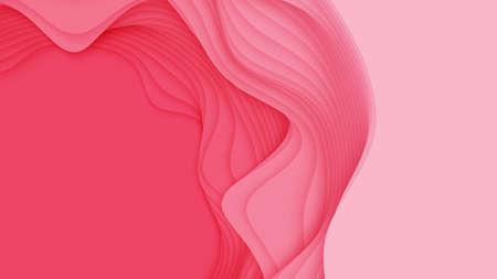 Vector 3D abstrait avec forme de papier découpé. Art de la sculpture rouge coloré. Artisanat en papier Paysage de canyon d'antilope avec des couleurs douces en dégradé. Design minimaliste pour les présentations d'affaires, flyers Vecteurs