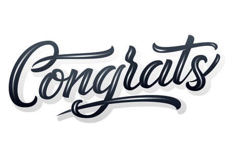 Hand drawn lettering Congrats with shadow and highlights. Vector Ink illustration. Typography poster on white background. Congratulation, celebration template for cards, invitations, prints etc