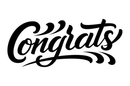 Hand drawn lettering Congrats. Vector Ink illustration. Typography poster on white background. Congratulation, celebration design template for cards, invitations, prints etc Illusztráció