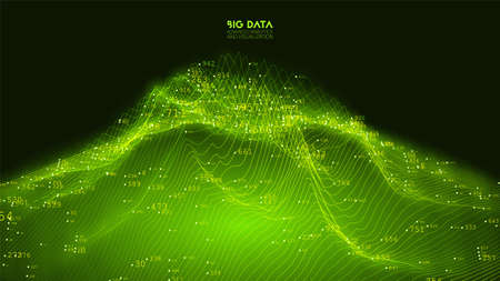 Vector abstract 3D big data visualization. Futuristic infographics aesthetic design. Visual information complexity. Intricate data threads graphic. Social network or business analytics representation.