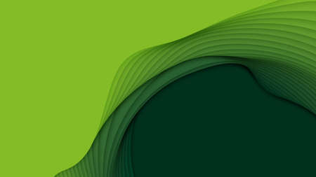 Vector 3D abstract background with paper cut shapes. Green carving art. Paper craft landscape with gradient fade colors. Minimalistic design layout for business presentations, flyers, posters Standard-Bild - 125164691