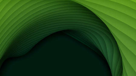 Vector 3D abstract background with paper cut shapes. Green carving art. Paper craft landscape with gradient fade colors. Minimalistic design layout for business presentations, flyers, posters Standard-Bild - 125164694