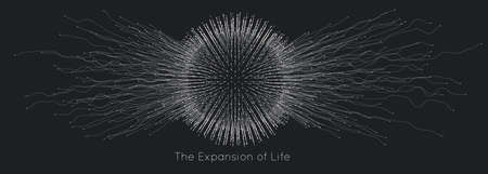 Expansion of life. Vector sphere explosion background. Small particles strive out of center. Blurred debrises into rays or lines under high speed of motion. Burst, explosion backdrop Vektoros illusztráció