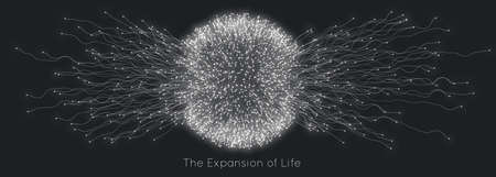 Expansion of life. Vector sphere explosion background. Small particles strive out of center. Blurred debrises into rays or lines under high speed of motion. Burst, explosion backdrop Vectores