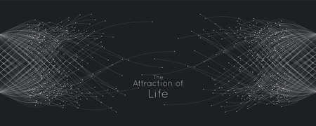 Attraction of life. Vector connecting particle tails. Small particles strive to each other. Blurred debrises into rays or lines under high speed of motion. Burst, explosion backdrop