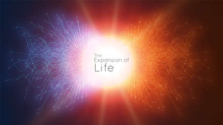 Colorful attraction of life. Vector connecting particle tails. Small particles strive to each other. Blurred debrises into rays or lines under high speed of motion. Burst, explosion backdrop