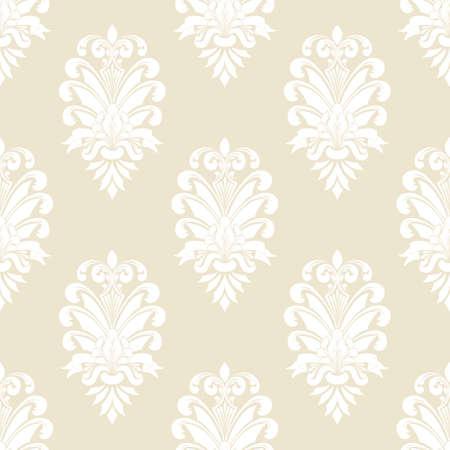 Damassé de fond transparente de vecteur. Ornement damassé à l'ancienne classique de luxe, texture transparente royale victorienne pour papiers peints, textile, emballage. Modèle baroque floral exquis Vecteurs