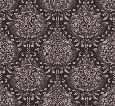 Vector damask seamless pattern background. Classical luxury old fashioned damask ornament, royal victorian seamless texture for wallpapers, textile, wrapping. Exquisite floral baroque template Stock Illustratie