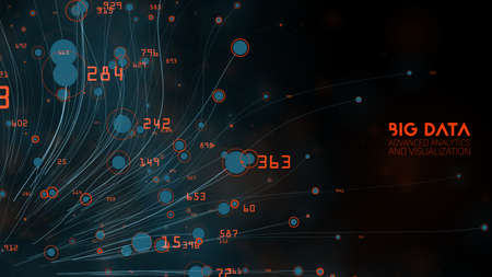 Vector abstract colorful big data information threads visualization. Social network, financial analysis of complex databases. Visual information complexity clarification. Strabge intricate data cloud.
