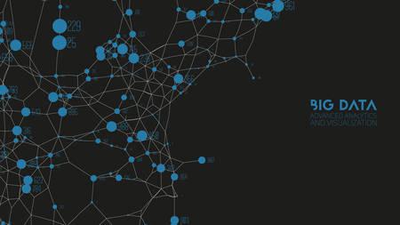 Visualización de conexión de información de datos grandes de gráfico colorido abstracto de vector. Red social, análisis financiero de bases de datos complejas. Aclaración de la complejidad de la información visual. Nube de datos intrincada.