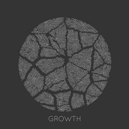 Vector generative branch growth pattern. Round cracked texture. Lichen like organic structure with veins. Monocrome square biological net of vessels