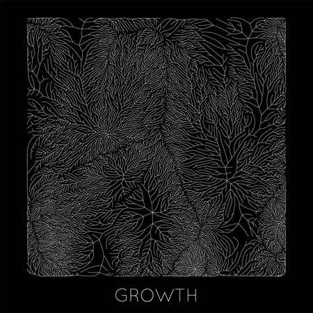 Patrón de crecimiento de rama generativa vectorial. Textura cuadrada. Liquen como estructura orgánica con venas. Red biológica monocroma cuadrada de vasos