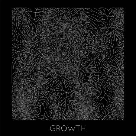 Vector generative branch growth pattern. Square texture. Lichen like organic structure with veins. Monocrome square biological net of vessels