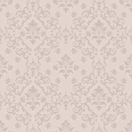 Vector damask seamless pattern background. Classical luxury old fashioned damask ornament, royal victorian seamless texture for wallpapers, textile, wrapping. Exquisite floral baroque template Vettoriali