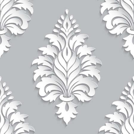 Vektor Damast nahtloses Musterelement. Klassische Luxus altmodische Damastverzierung, königliche viktorianische nahtlose Beschaffenheit für Tapeten, Textil, Verpackung. Exquisite Blumenbarockschablone