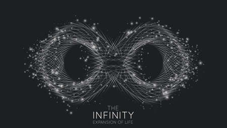 Infinity expansion of life. Vector infinity sign explosion background. Small particles strive out of center. Vectores