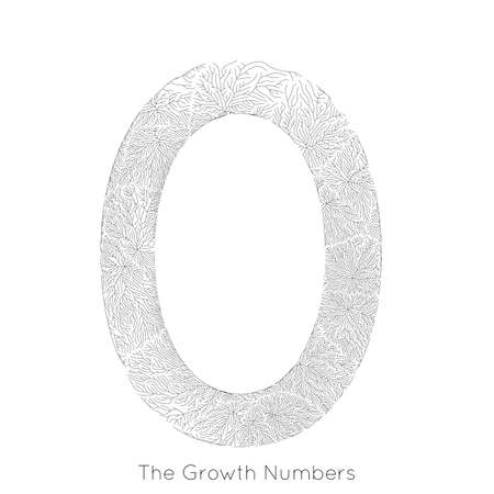 Vector generative branch growth number 0. Lichen like organic structure with veins form number shape. Stock Illustratie