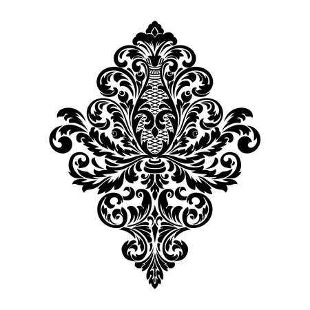 Vector damask element. Isolated damask central illustration. Classical luxury old fashioned damask ornament Vetores