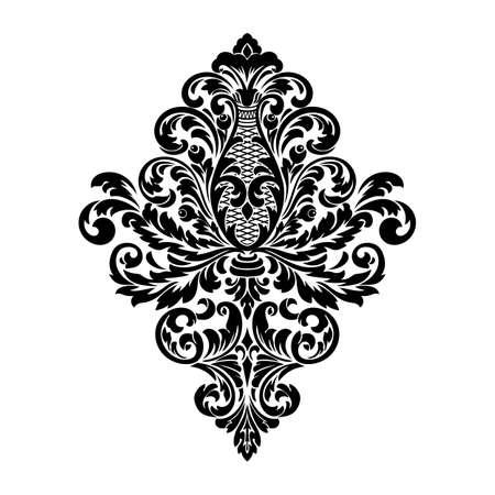 Vektor-Damast-Element. Isolierte Damast zentrale Abbildung. Klassisches luxuriöses altmodisches Damast-Ornament Vektorgrafik