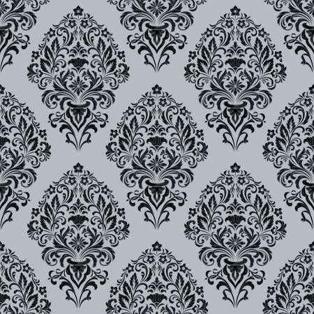 Vector damask seamless pattern background. Classical luxury old fashioned damask ornament, royal victorian seamless texture for wallpapers, textile, wrapping. Exquisite floral baroque template Ilustração
