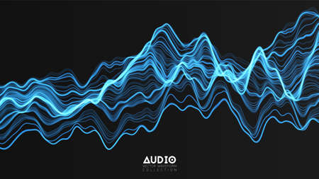 Vector 3d echo audio wavefrom spectrum. Abstract music waves oscillation graph. Futuristic sound wave visualization. Blue glowing impulse pattern. Synthetic music technology sample