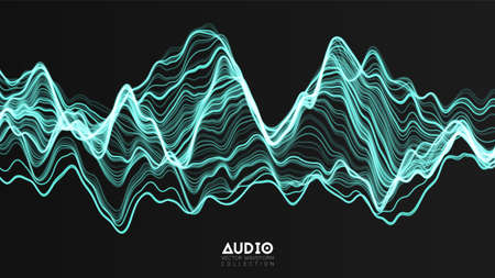 Vector 3d echo audio wavefrom spectrum. Abstract music waves oscillation graph. Futuristic sound wave visualization. Green glowing impulse pattern. Synthetic music technology sample