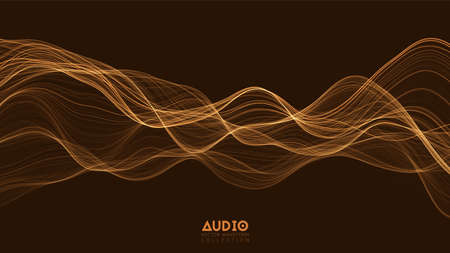 Vector 3d echo audio wavefrom spectrum. Abstract music waves oscillation graph. Futuristic sound wave visualization. Orange glowing impulse pattern. Synthetic music technology sample Çizim