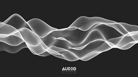 Vektor-3D-Echo-Audio-Wavefrom-Spektrum. Abstraktes Musikwellen-Oszillationsdiagramm. Futuristische Schallwellenvisualisierung. Schwarz-Weiß-Linien-Impulsmuster. Synthetische Musiktechnologie-Beispiel Vektorgrafik