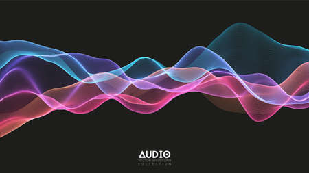 Vector 3d echo audio wavefrom spectrum. Abstract music waves oscillation graph. Futuristic sound wave visualization. Colorful glowing impulse pattern. Synthetic music technology sample