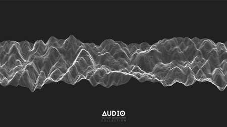 Vector 3d echo audio wavefrom spectrum. Abstract music waves oscillation graph. Futuristic sound wave visualization. Black and white line impulse pattern. Synthetic music technology sample