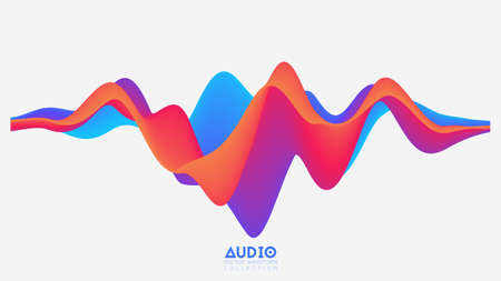 Vector 3d solid surface audio wavefrom. Abstract music waves oscillation spectrum. Futuristic sound wave visualization. Colorful impulse pattern. Synthetic music technology sample Stok Fotoğraf - 132028435