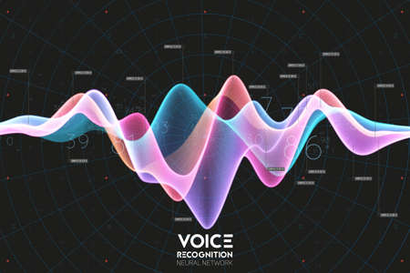 Vector echo audio wavefrom. Abstract music waves oscillation. Futuristic sound wave visualization. Synthetic music technology sample. Voice recognition. Digital sound analysis. Speech to text Vettoriali