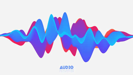 Vector 3d solid surface audio wavefrom. Abstract music waves oscillation spectrum. Futuristic sound wave visualization. Colorful impulse pattern. Synthetic music technology sample Illustration