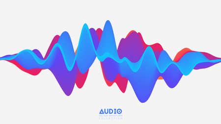 Vektor 3d feste Oberfläche Audio Wavefrom. Oszillationsspektrum der abstrakten Musikwellen. Futuristische Schallwellenvisualisierung. Buntes Impulsmuster. Synthetische Musiktechnologie-Beispiel