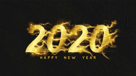 Happy New 2020 Year background. Glowing golden 2020 text with sparks trails. Fairy new year intricate, detailed background with gold floral net Ilustrace
