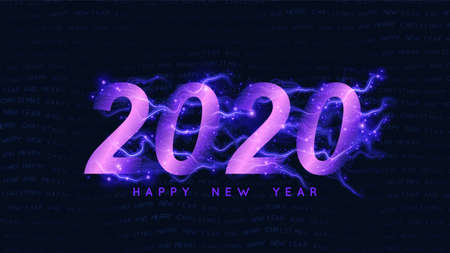Happy New 2020 Year background. Glowing violet 2020 text with sparks trails. Fairy new year intricate, detailed background with wavy warped text Happy New Year
