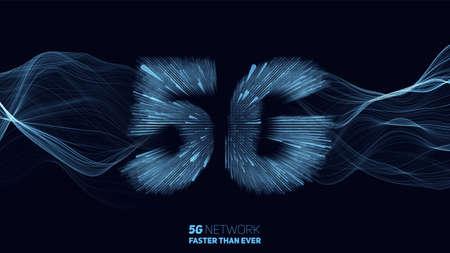 Vector astratto 5G nuovo sfondo di connessione internet wireless. Rete globale ad alta velocità. Simbolo 5G costruito con linee luminose con un'esplosione di velocità della luce sullo sfondo Vettoriali